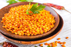 Red lentils pepper Stock Photo