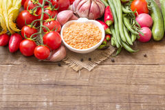 Red lentils and vegetables Stock Image