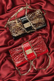 Red and leopard bag  lying on red  fabric Royalty Free Stock Photography