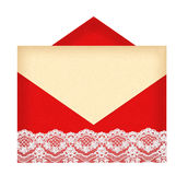 Red letter envelope with paper isolated on white Royalty Free Stock Photo