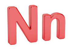 Red letter N alphabet, 3D rendering. English letter N alphabet, 3D rendering on white background Royalty Free Stock Photos