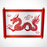 Red letter Roll and red dragon china vector design Stock Image
