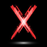 Red letter X on a black background. Raster Royalty Free Stock Photos