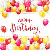 Red lettering Happy Birthday with balloons and streamers Royalty Free Stock Photos