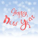 Red lettering Happy New Year on blue sky background, white cloud, snow-flakes Royalty Free Stock Image