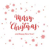 Red Lettering Merry Christmas and Happy New Year with Snowflakes. And dots on white background, illustration royalty free illustration