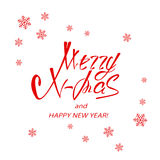Red lettering Merry Xmas and Happy New Year with snowflakes. Christmas greeting, red lettering Merry Xmas and Happy New Year with snowflakes on white background royalty free illustration