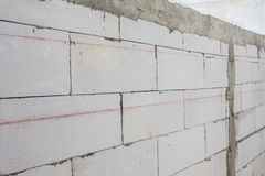 Red level line for masonry brick wall Royalty Free Stock Photography
