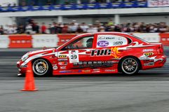 Red lexus drifting in Formula Drift championship Stock Photography