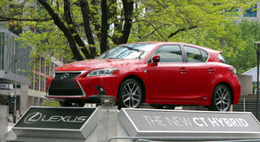 Red Lexus Hybrid. The new 2014 Ct Hybrid Lexus on display in downtown Toronto,Canada Stock Images