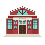 Red library cartoon building icon. For city design. Vector illustration vector illustration