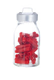 Red licorice on glass jar Stock Photography