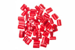 Red licorice in white background Royalty Free Stock Images