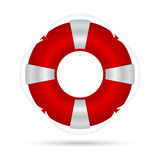 Red life buoy with a rope, and silver accents. Royalty Free Stock Photo