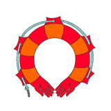 Red life buoy. Vector. Rescue on the water. The human hand in the form of a rescue. Metaphor for protection, peace and prosperity. Stock Images
