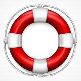 Red life buoy on white. Red life buoy with rope  on white background, vector illustration Stock Photo