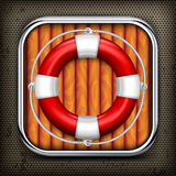 Red life buoy on wooden. Red life buoy with rope on wooden background, vector illustration Royalty Free Stock Images