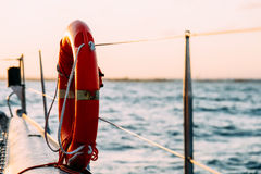 Red Life Buoy On Yacht Royalty Free Stock Photography