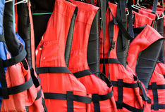 Red life jackets Royalty Free Stock Photos