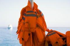 Red life jackets Royalty Free Stock Photo