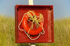 Red life preserver on a grassy beach. Large red life preserver on a grassy beach in the summertime Royalty Free Stock Image