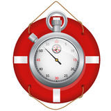 Red life preserver with stopwatch Stock Images
