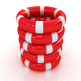 Red lifebelts Stock Photo
