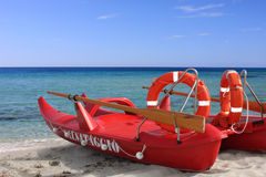 A red lifeboat Stock Images