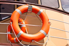 Red lifebuoy. On a ship Stock Images