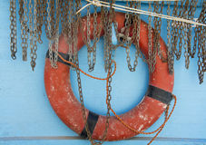 Red lifebuoy. On blue background Stock Images