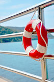Red Lifebuoy in front of the blue sea Royalty Free Stock Photo