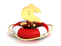 Red lifebuoy with golden dollar symbol. Save your money business financial concept 3d render illustration on white background Stock Image
