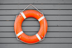 Red lifebuoy hanging on gray wooden wall. Of a port building Stock Photography