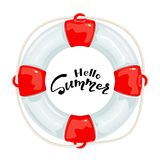 Red lifebuoy and lettering Hello Summer on white background Royalty Free Stock Photo