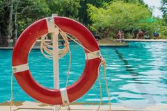 Red lifebuoy near swimming pool. At tropical hotel Stock Photo