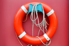 Red lifebuoy. On a pink background Stock Image