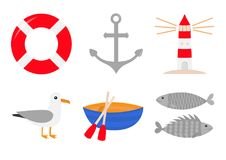 Red lifebuoy ring. Ship anchor lighthouse boat albatross bird fish icon set. Life buoy round circle for safety at sea ocean water. Nautical sign symbol. Flat Royalty Free Stock Images