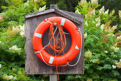 Red lifebuoy with ropes hanging in wooden box Royalty Free Stock Photography