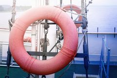 Red lifebuoy. Is on the ship. The journey Stock Image