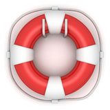 Red lifebuoy on white wall Royalty Free Stock Photography