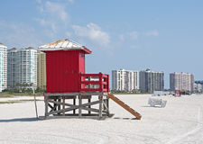 Red lifeguard booth on a beach Stock Photo
