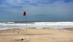 Red lifeguard coastguard danger flag Royalty Free Stock Photos