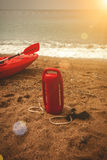 Red lifeguard equipment on beach at sunny day Stock Photography