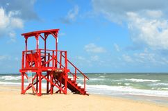 Red Lifeguard Tower  Royalty Free Stock Photos