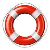 Red lifesaver belt. Isolated on white background Stock Photography