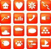 Red lifestyle buttons. A set of illustrated icons, RSS icon style. Includes a house, heart, flower, footsteps, paw print, arrow, equalizer, handset, loudspeaker Royalty Free Stock Image