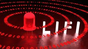 Red LIFI LED emitts binat data streams Stock Photo