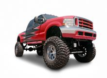 Red Lifted Truck Stock Image