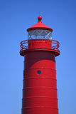 Red Lighhouse Over Blue Sky Royalty Free Stock Photo