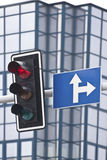 Red light. And a street sign Royalty Free Stock Image